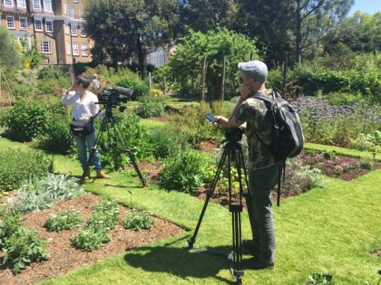 Filming at the Chelsea Physic Garden